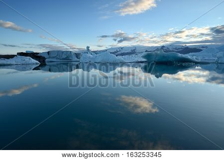 Icelandic glacial lake with mountains. Glacier in Iceland.