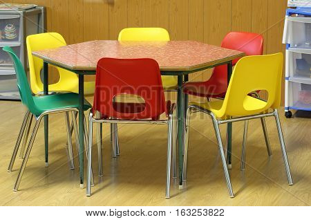 Chairs Around The Hexagonal Table In The Classroom