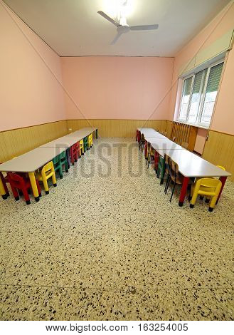 Lunchroom With Tables And Chairs For Children
