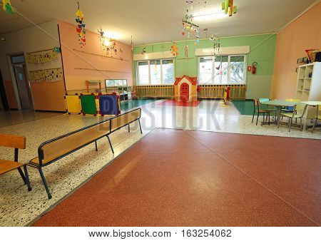 Wide Room Of A School For Kids Without People