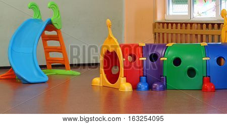 School Hall With Large Plastic Games For Preschoolers