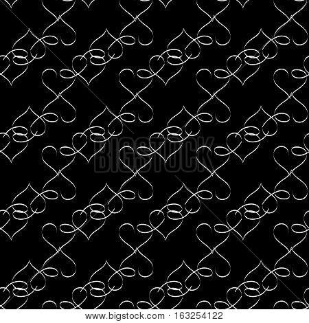 Heart black seamless pattern. Fashion graphic background design. Abstract texture. Monochrome template for prints textiles wrapping wallpaper website etc. Vector illustration