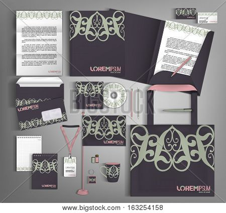Dark lilac corporate identity template design with green and pink design element. Business set stationery.