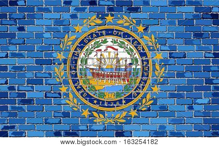 Flag of New Hampshire on a brick wall with effect - Illustration