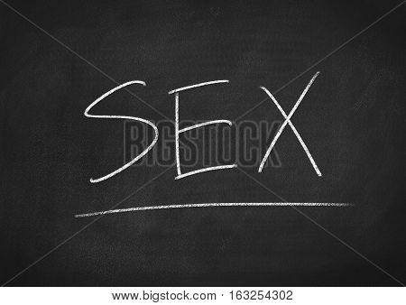 sex concept word on blackboard chalkboard background