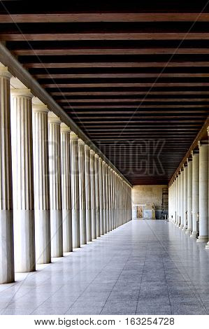 ATHENS, GREECE - MAY 7, 2016: Colonnade of an ancient museum Stoa of Attalos. The Ancient Agora.