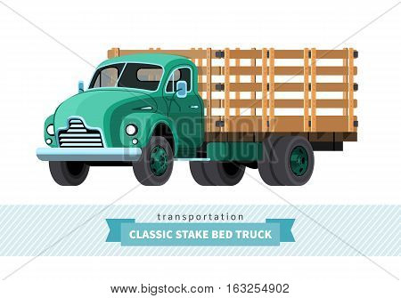 Classic Stake Bed Truck Front Side View