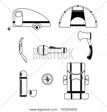 Set of Camping and Tourist Equipment / Camping Vector Icons
