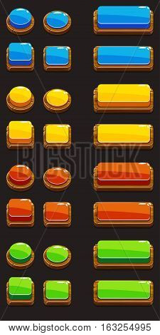 Colors wooden Push Buttons For A Game Or Web Design Element, gui elements set