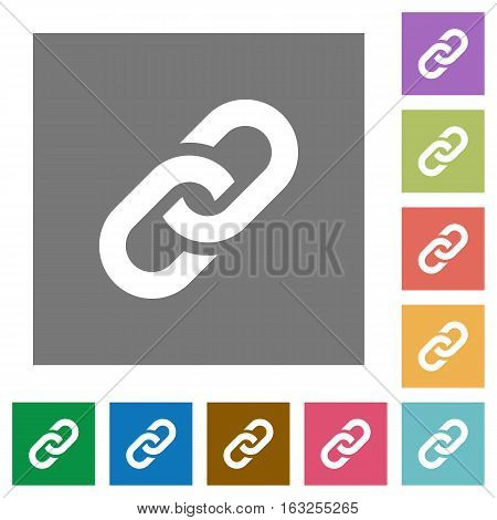 Link flat icons on simple color square backgrounds