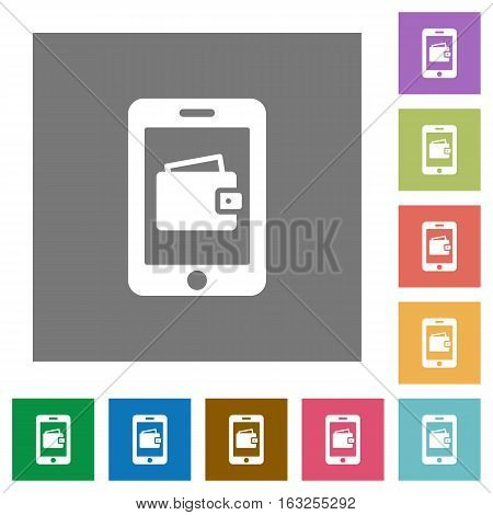 Mobile wallet flat icons on simple color square backgrounds