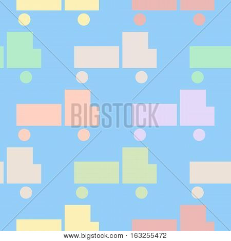 Simple seamless pattern with stylized image of trucks. Background with multicolored Kids cars.