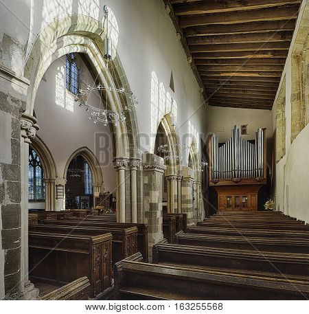 Priory Church of Saint Mary Deerhurst Tewkesbury Gloucestershire Interior of Anglo-Saxon Church