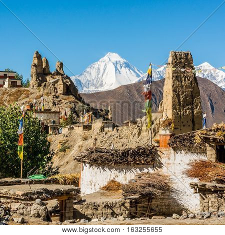 Traditional stone build village of Jhong. Annapurna circuit trek in Nepal.