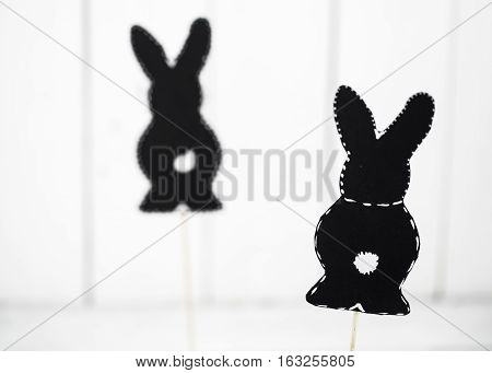 Black Paper Easter Bunny On White Background
