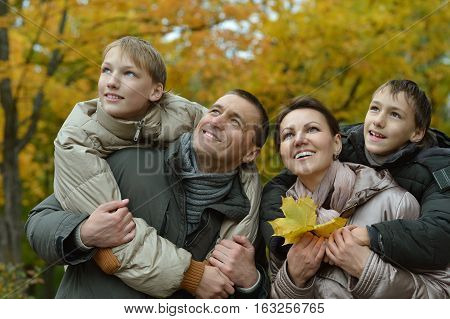 big happy family posing outdoors in autumn