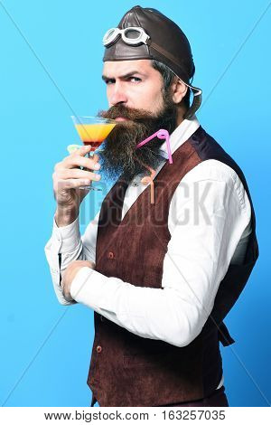 Displeased Handsome Bearded Pilot