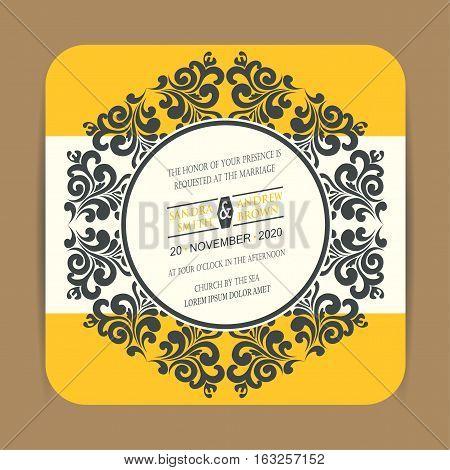 Wedding invitation card or announcement. Vector illustration
