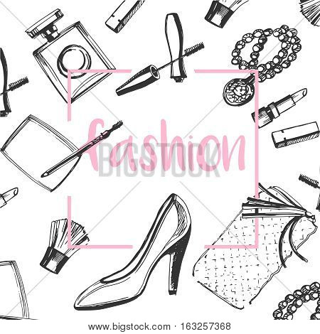 fashion sketch set.Hand drawn graphic shoes, makeup brush, lipstick, powder, clutch, perfume.Trend glamour kit vogue style.Cosmetics creative background.Vector isolated on white background.