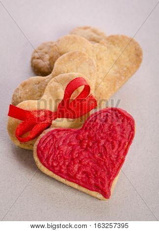 Cookies-hearts On Wooden Table
