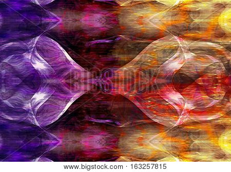 Abstract background of intertwined dualistic shapes flowing in opposite directions. Gradient borderline of spectral light forms. Intersecting red, purple, gold and white surrealistic objects