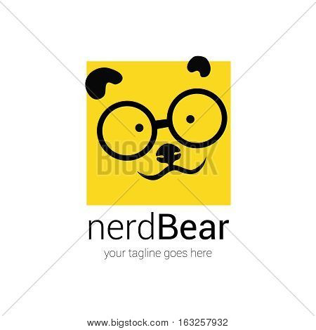 nerd logo design template with cartoon face bear in eye glasses on a background of yellow square-pixel, identity concept, symbol, icon, vector illustration isolated on white backgrounds,