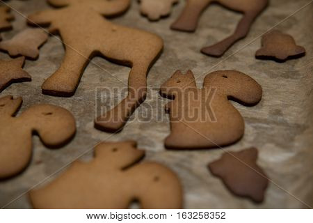 Different Shapes Baked From Gingerbread Dough