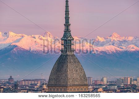 Torino (turin, Italy): Cityscape At Sunrise With Details Of The Mole Antonelliana Towering Over The