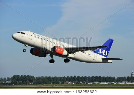 Amsterdam the Netherlands - August 18th 2016: OY-KAW SAS Scandinavian Airlines Airbus A320 taking off from Polderbaan Runway Amsterdam Airport Schiphol