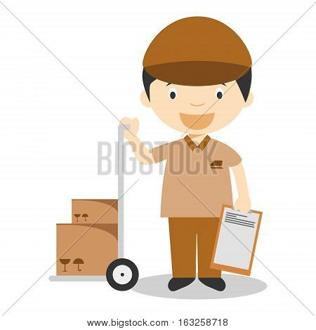 Cute cartoon vector illustration of a courier or a carrier