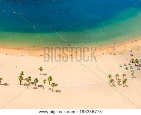 aerial birdeye view of Las Teresitas beach, Tenerife