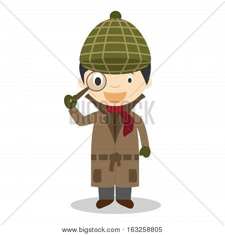 Cute cartoon vector illustration of a detective