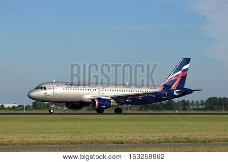 Amsterdam the Netherlands - August 18th 2016: VP-BLR Aeroflot - Russian Airlines Airbus A320-214 taking off from Polderbaan Runway Amsterdam Airport Schiphol