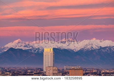 Torino (turin, Italy): Cityscape At Sunrise Woth The New Skyscraper Towering Over The City. Scenic C