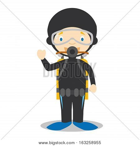 Cute cartoon vector illustration of a diver