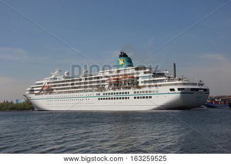 Velsen the Netherlands - May 6th 2016: MS Amadea in North Sea Canal. Amadea is a cruise ship owned by Amadea Shipping Company operated by Phoenix Reisen built in 1991 in Nagasaki Japan