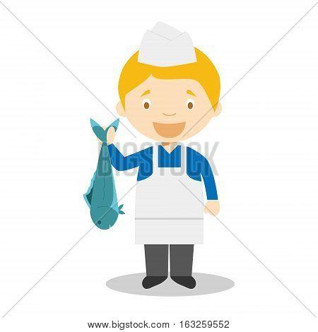 Cute cartoon vector illustration of a fishmonger