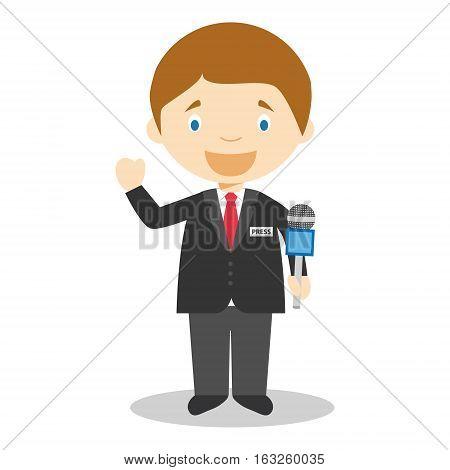 Cute cartoon vector illustration of a journalist