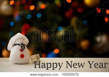 Happy New Year inscription on a Christmas background