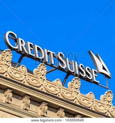 Zurich Switzerland - 27 December 2016: sign on the top of the Credit Suisse office building on Paradeplatz square. Credit Suisse Group is a Swiss multinational financial services holding company headquartered in Zurich.