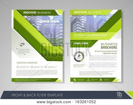 Green annual report brochure flyer design template. Leaflet cover presentation abstract background for business magazines posters booklets banners. Layout in A4 size. Easily editable vector format.