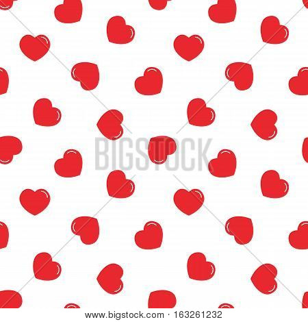 Red hearts seamless pattern background for Valentine's day design.