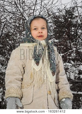 Portrait of a small child on the background of snowy trees. Winter. Girl in a scarf and coat
