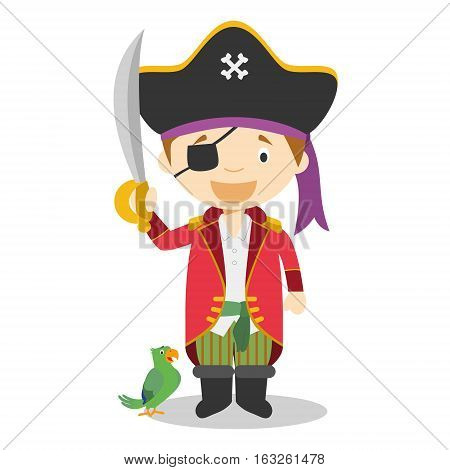 Cute cartoon vector illustration of a pirate