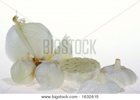 White Onion And Carlic On White