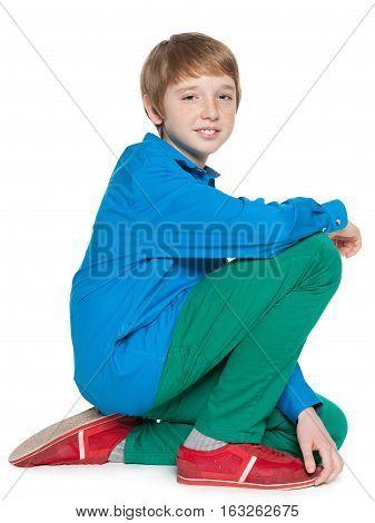 Fashion Sitting Preteen Boy