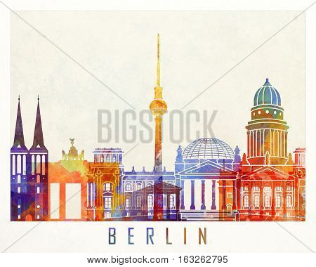 Berlin landmarks in artistic abstract watercolor poster
