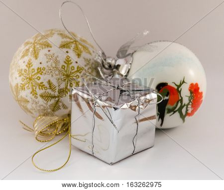 Christmas toys at front of a white background