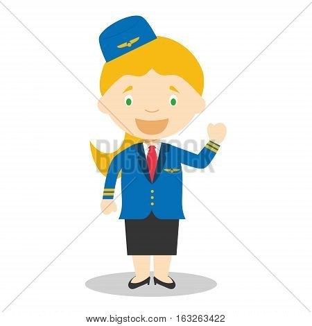 Cute cartoon vector illustration of a stewardess or flight attendant