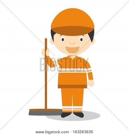 Cute cartoon vector illustration of a street sweeper